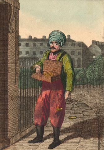 Rhubarb seller from William Craig's Itinerant Traders of London, 1804