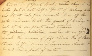 A Regency recipe for barley water, from The Cookbook of Unknown Ladies