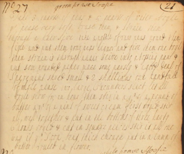 "Recipe for ""green pease soope"" from The Cookbook of Unknown Ladies"