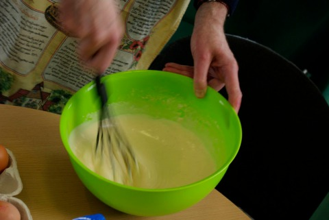 Getting busy with the batter for 'Dutches of Cleaveland' pancakes